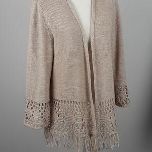 Style & Co sweater nit Fringe open front cardigan
